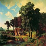 Albert Bierstadt (1830-1902)  A Rustic Mill  Oil on canvas, 1855  43 1/4 x 58 1/4 inches (110 x 148 cm)  Private collection